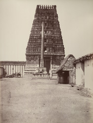 Mysore. Gateway of temple in the city. [Corrected caption: Gopuram and column of the Someshvara Temple, Bangalore.]